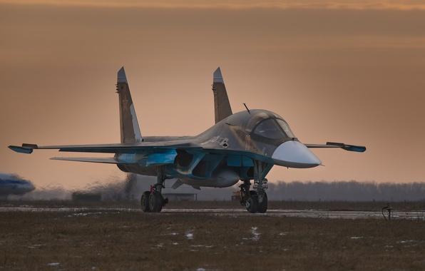 Picture bomber, twilight, frontline, Fullback, Airbase, Su 34, Baltimore