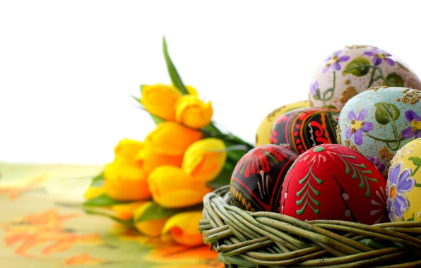 Picture macro, holiday, eggs, focus, Easter, tulips, ornament, painting, yellow, Easter, painted