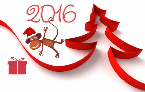 Picture red, box, gift, figure, new year, figures, tape, white background, tree, monkey, 2016, Wallpaper from …