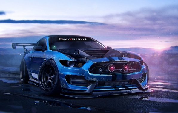 Picture Ford, Shelby, Muscle, Car, Art, Blue, GT350, 2015, by Khyzyl Saleem, Mustant