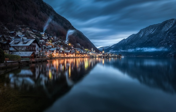 Picture forest, the sky, mountains, clouds, lake, reflection, home, the evening, Austria, lighting, twilight, Austria, Hallstatt, ...