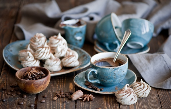 Picture blue, coffee, grain, Cup, sweets, set, Anis