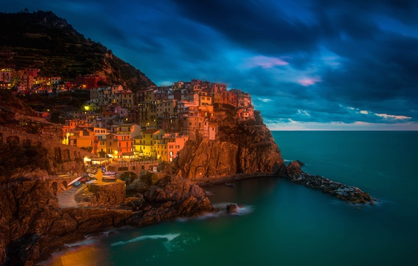 Picture sea, night, lights, rocks, home, Italy, Manarola