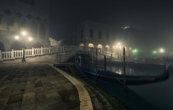 Picture Bridge, Night, Venice, Lamps, Gondolas