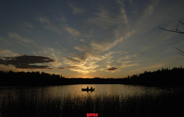 Picture forest, the sky, water, clouds, lake, dawn, boat, fishing, fisherman, morning, fishermen, fishing, rapala