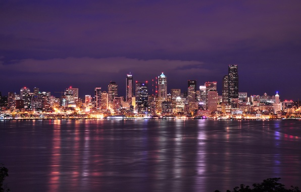 Picture the sky, clouds, night, city, the city, lights, lights, building, home, lighting, Bay, Washington, Seattle, …