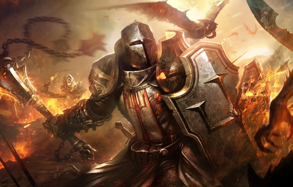 Picture armor, warrior, helmet, demons, Diablo 3, evil, Crusader, Crusader
