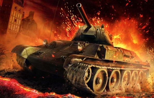 Picture figure, art, T-34, Soviet medium tank, thirty-four