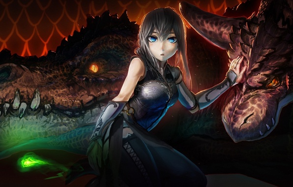 Picture girl, dragons, fantasy, art, akio-tank