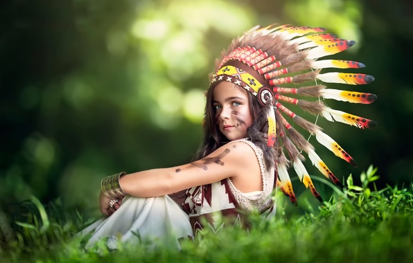 Picture feathers, girl, headdress, Littlest Indian