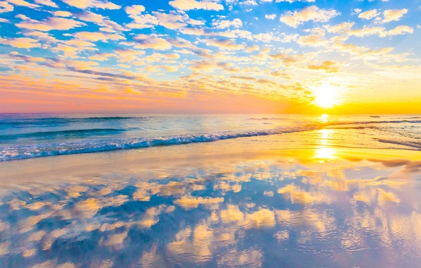 Picture sea, wave, beach, clouds, sunset, reflection, mirror