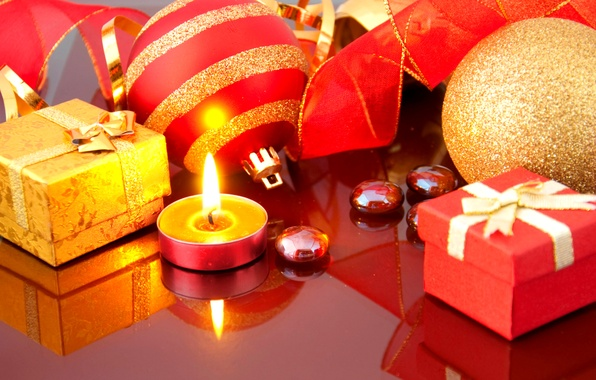 Picture decoration, reflection, fire, flame, holiday, gift, balls, new year, candle, tape, gifts, candle, Christmas toys, …