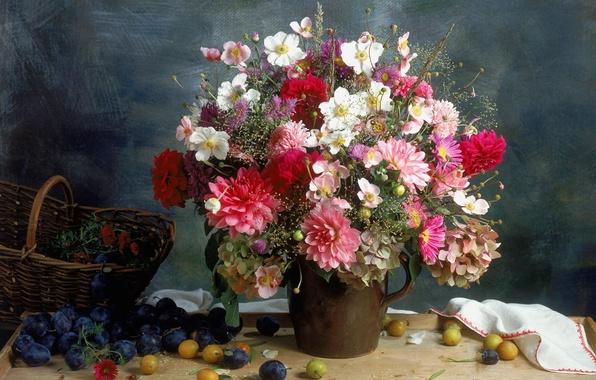 Picture Vase, Bouquet, Fruit