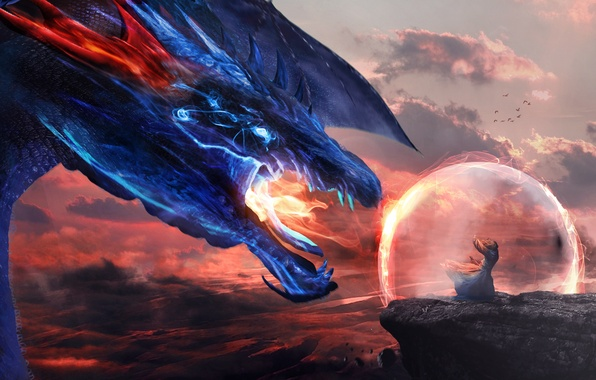 Picture the sky, look, rock, fiction, fire, dragon, wings, art, mouth, MAG