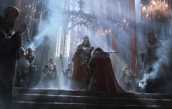 wallpaper fantasy ritual monk hall knight kingdom