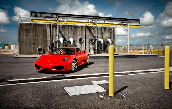 Picture red, pipe, the building, red, ferrari, Ferrari, front view, f430