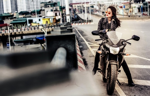 Picture girl, the city, street, glasses, motorcycle, Honda