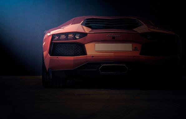 Picture Lamborghini, rear, orange, LP700-4, Aventador
