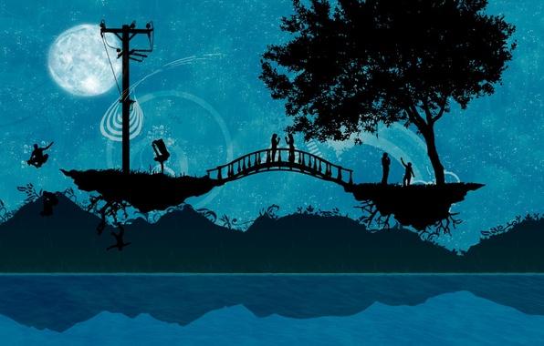 Picture bridge, people, tree, Vector