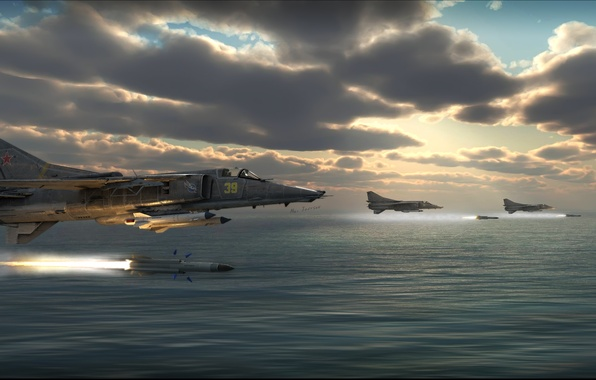 Picture missiles, art, BBC, fighter-bomber, Soviet, supersonic, The MiG-27, third generation