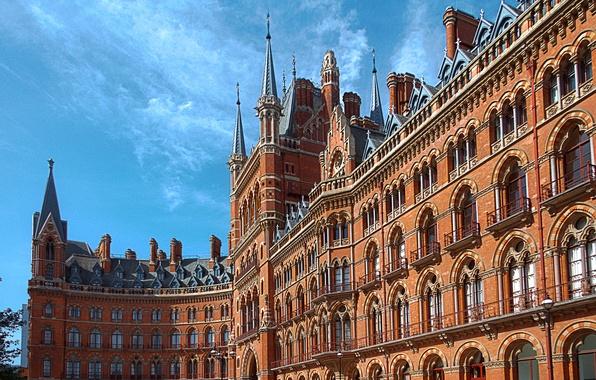 Picture the sky, house, England, London, the hotel, architecture, St. Pancras Renaissance