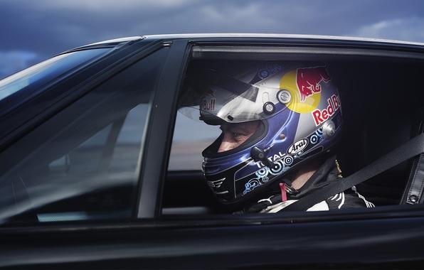 Picture race, helmet, pilot, car, Red Bull