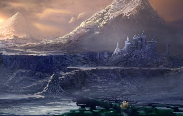 Picture cold, sea, water, mountains, castle, rocks, ship, sailboat, art, ice