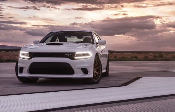 Picture the sky, background, Dodge, Dodge, Charger, the front, Hellcat, SRT, The charger