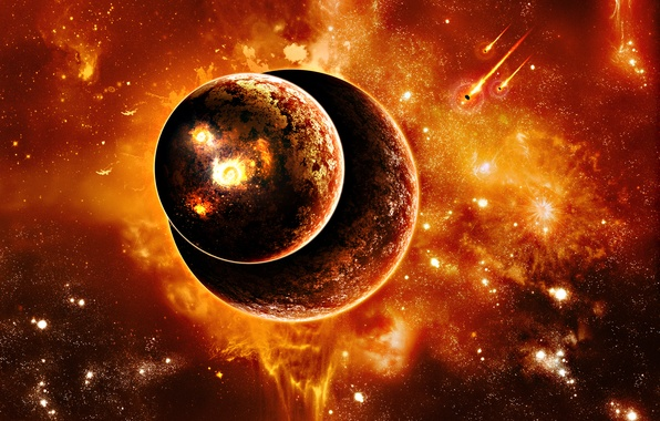 Picture planets, sci fi, fire and heat