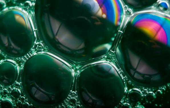Picture bubbles, green, rainbow, bubbles, soap, Soap Bubble Rainbows
