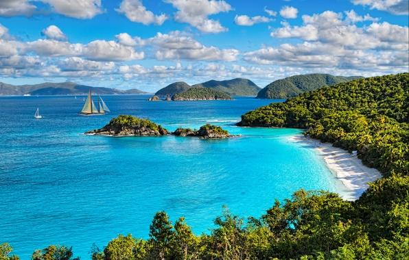 Picture sea, beach, the sun, Islands, clouds, trees, stones, coast, yachts, USA, St. John, Virgin Islands …