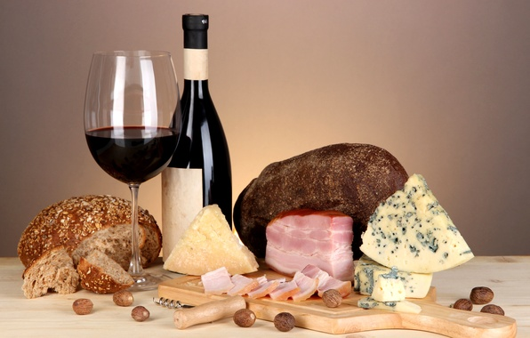 Picture wine, red, cheese, bread, nuts, ham