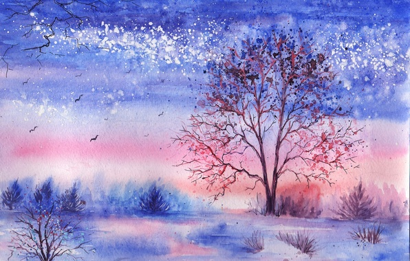 Picture winter, grass, trees, birds, lake, watercolor, the bushes, painted landscape