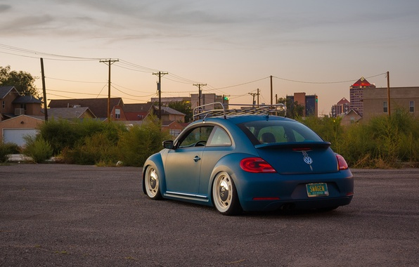 Picture the sky, street, Volkswagen, back, power lines, New Beetle