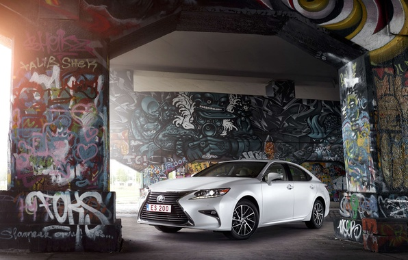 Picture auto, light, wall, graffiti, Lexus, Lexus, ES 200