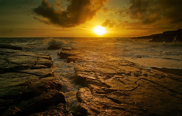 Picture sea, wave, sunset, stones