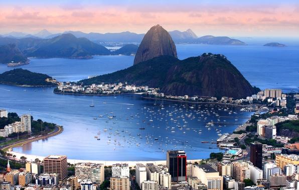 Picture mountains, coast, home, boats, panorama, Bay, boats, Brazil, Rio de Janeiro