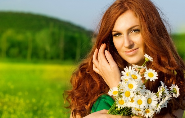 Picture girl, flowers, chamomile, redhead