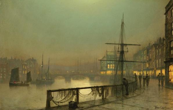 Picture the sky, bridge, river, people, boat, ship, home, picture, sail, promenade, Whitby, John Atkinson