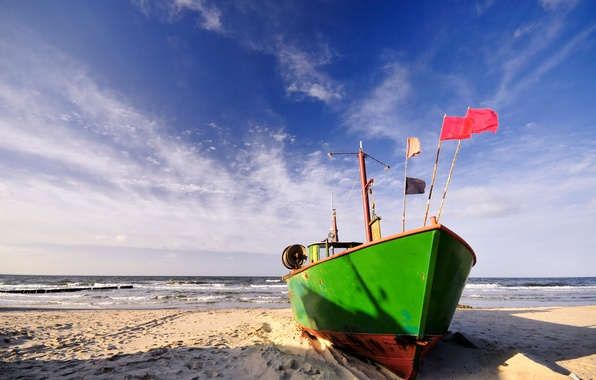 Picture sand, sea, wave, beach, clouds, shore, boat, surf
