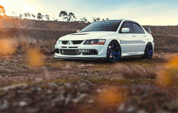 Picture Mitsubishi, Lancer, Car, Front, Sun, Sunset, White, Evolution 9, Works