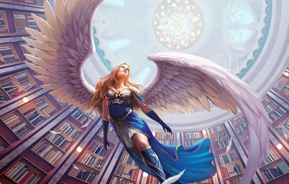 Picture girl, books, wings, angel, feathers, art, library, arch