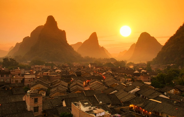 Picture roof, landscape, sunset, mountains, home, China, Guilin