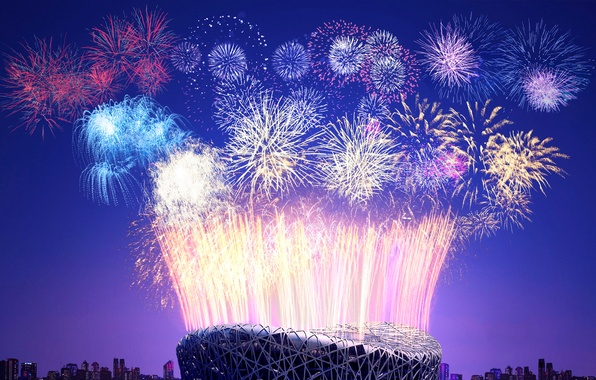Picture salute, China, New year, fireworks, stadium, Beijing