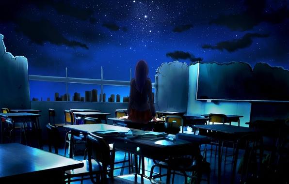 Picture the sky, girl, stars, night, art, destruction, class, ruins, school, back, desks, ayura