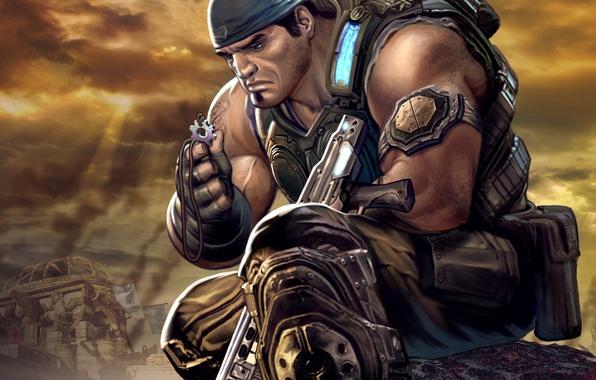 Picture soldiers, gears of war, art, marcus fenix