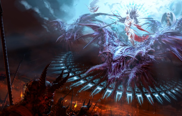 Picture angels, monsters, battle, demons, and evil, good