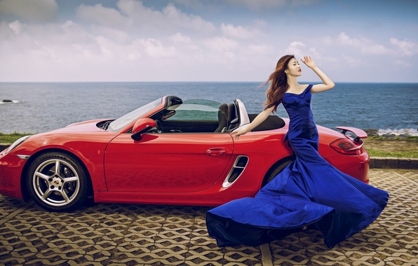 Picture sea, machine, auto, girl, pose, style, Porsche, figure, dress, convertible, Asian, promenade