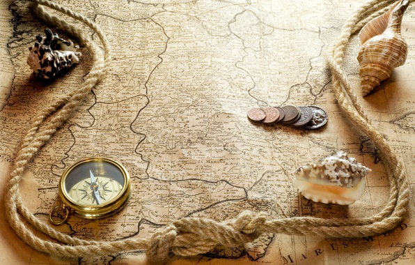 Picture paper, map, rope, shell, coins, compass