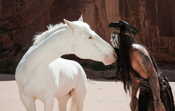 Photo wallpaper bird, Johnny Depp, horse, actor, Johnny Depp, crow, Indian, The Lone Ranger, The lone Ranger, ...